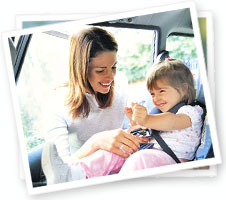 Mom With Child In Car Seat